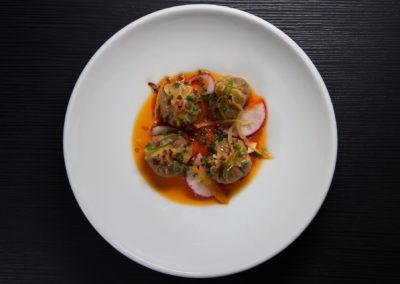 Lobster Dumplings (Spicy Tomato, Miso, Chili Oil)