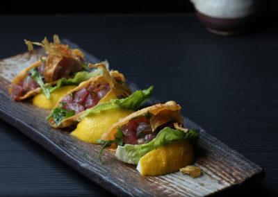 Tuna Tartar Tacos (Crispy Ginger, Sesame, Lime)