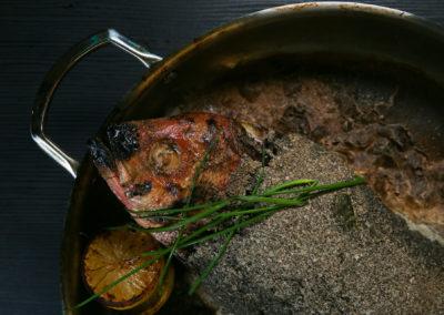 Branzino (Artichoke Puree, Ratatouille Vinaigrette)