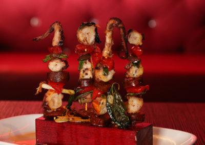 Octopus & Chorizo Kebabs (Olives, Scallions, Peppadew)