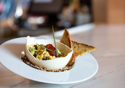 Scrambled Ostrich Egg (Asparagus, Mushroom, Gruyere, Tomato Jam, Toast
