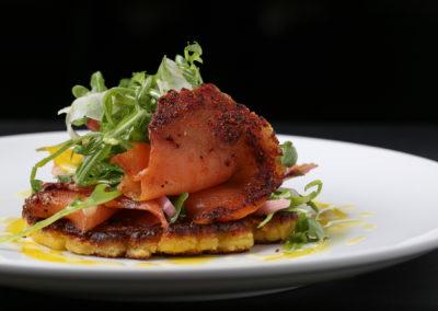 Pastrami Smoked Salmon (Arugula, Pickled Onion, Corn Arepa)