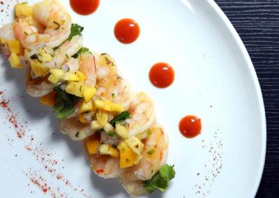 Cocktail Style Shrimp Ceviche (Avocado, Mango, Citrus, Passion Fruit)